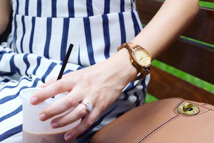 JORD Frankie Series Zebrawood Champagne Watch