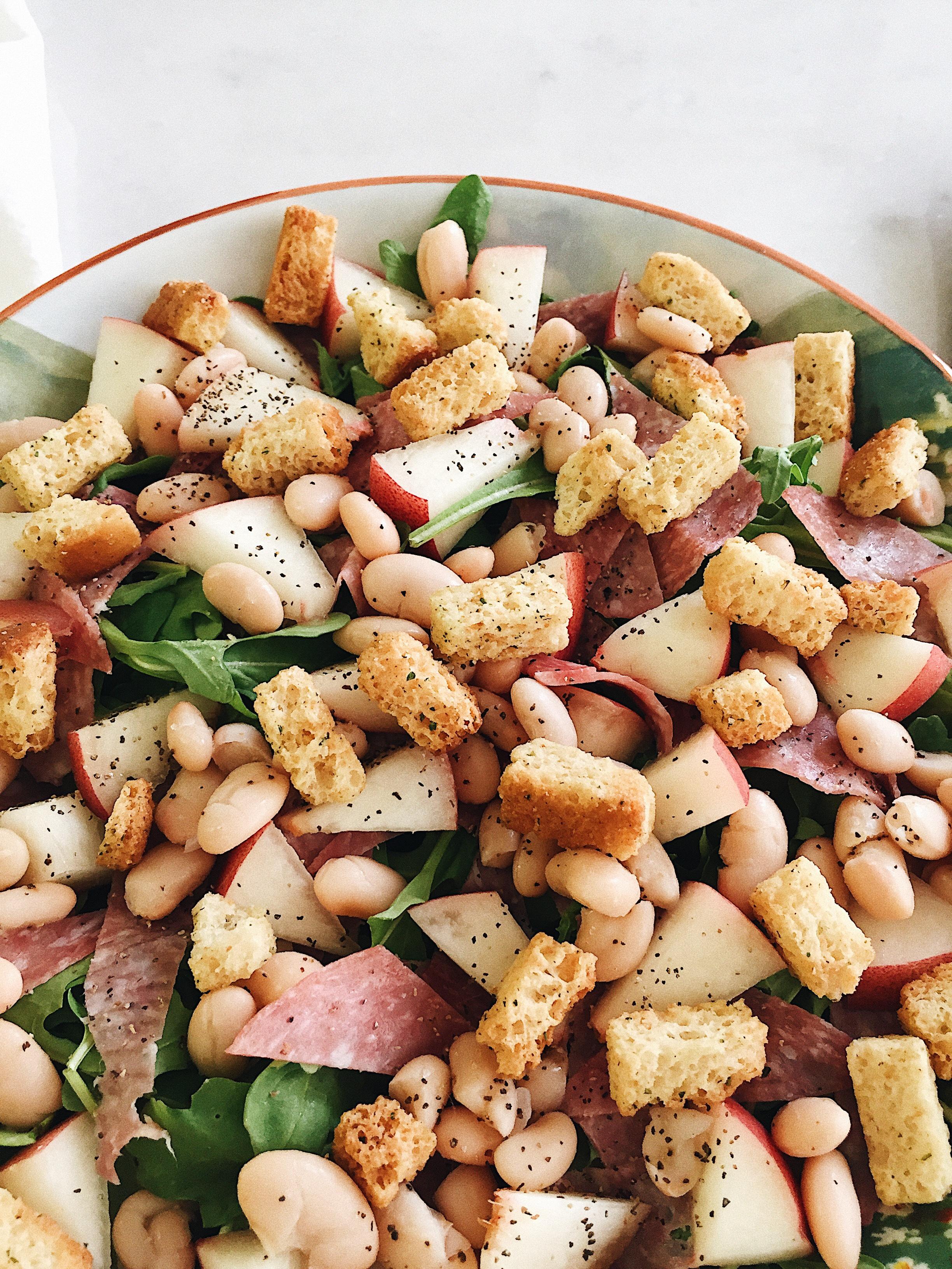 peach-salami-arugula-salad